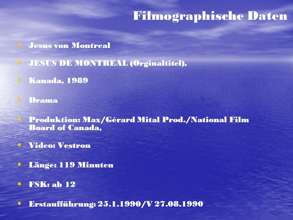 Filmographische Daten
