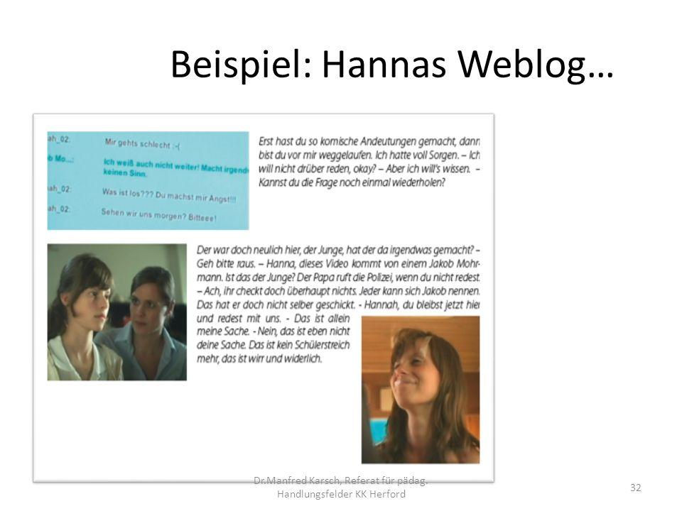 Beispiel: Hannas Weblog…
