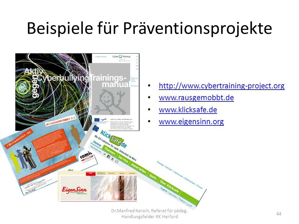 Beispiele für Präventionsprojekte