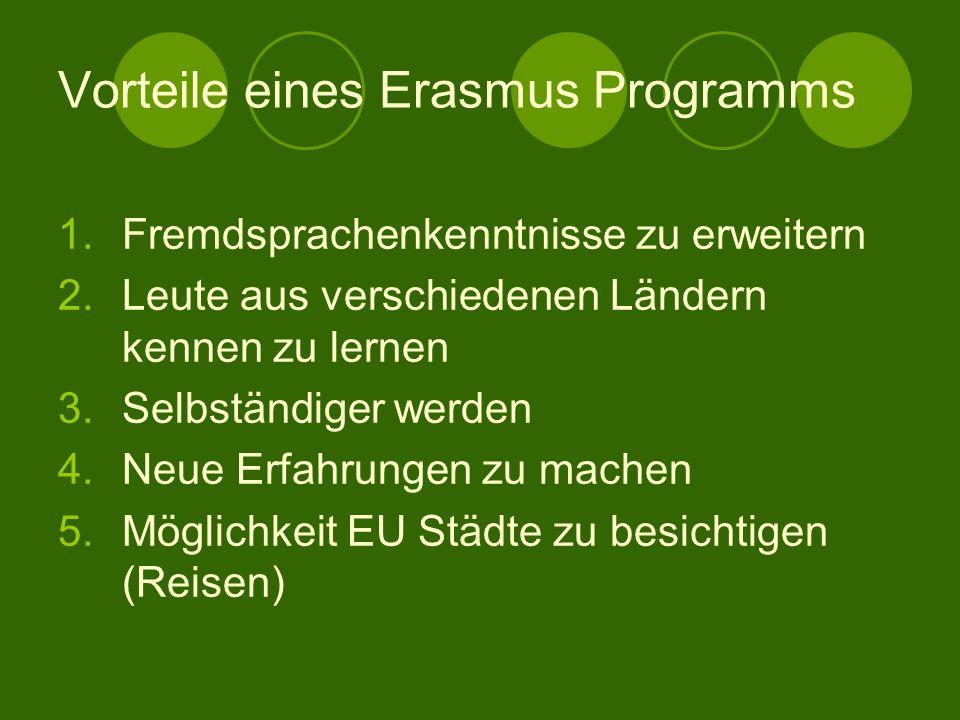 Vorteile eines Erasmus Programms