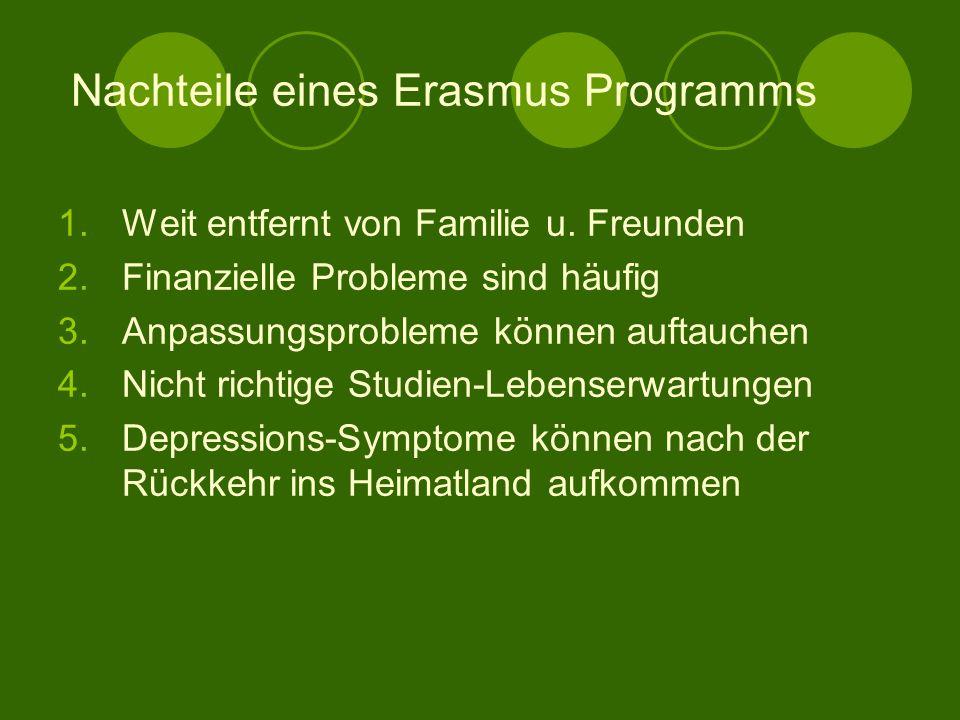 Nachteile eines Erasmus Programms