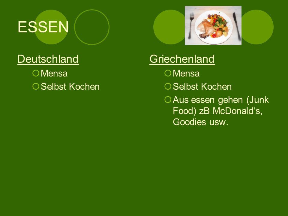 ESSEN Deutschland Griechenland Mensa Selbst Kochen Mensa Selbst Kochen