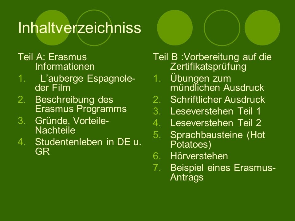 Inhaltverzeichniss Teil A: Erasmus Informationen