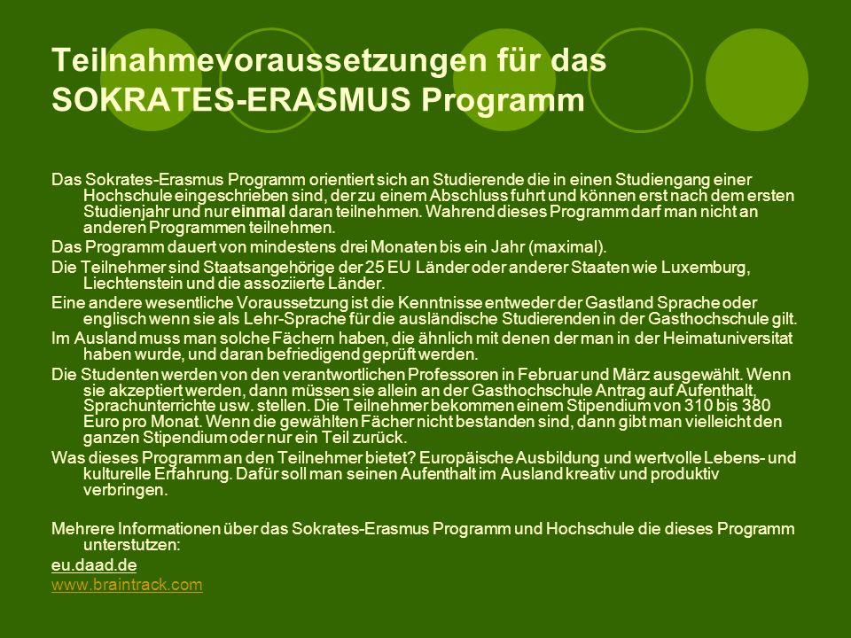 Teilnahmevoraussetzungen für das SOKRATES-ERASMUS Programm