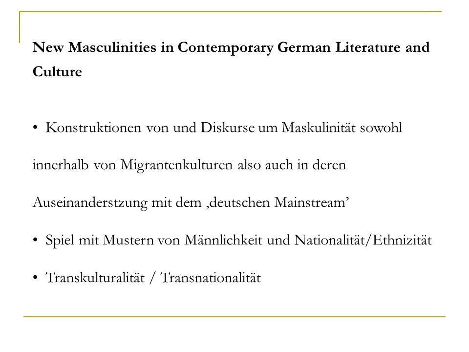 New Masculinities in Contemporary German Literature and Culture