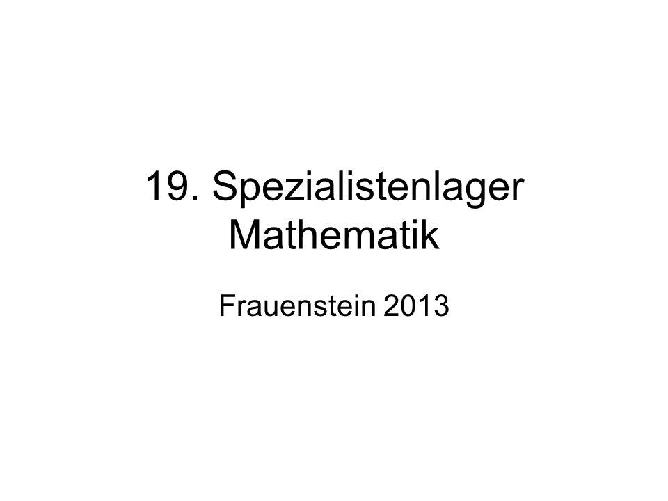 19. Spezialistenlager Mathematik