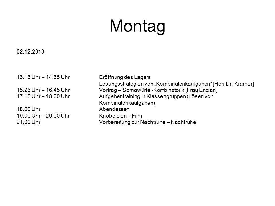 Montag 02.12.2013 13.15 Uhr – 14.55 Uhr Eröffnung des Lagers