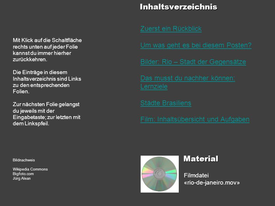 Inhaltsverzeichnis Material Zuerst ein Rückblick