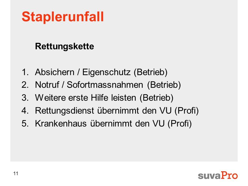 Staplerunfall Rettungskette Absichern / Eigenschutz (Betrieb)
