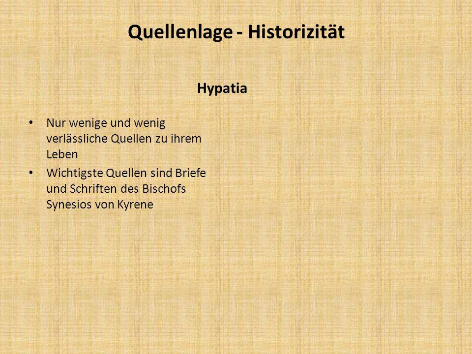 Quellenlage - Historizität