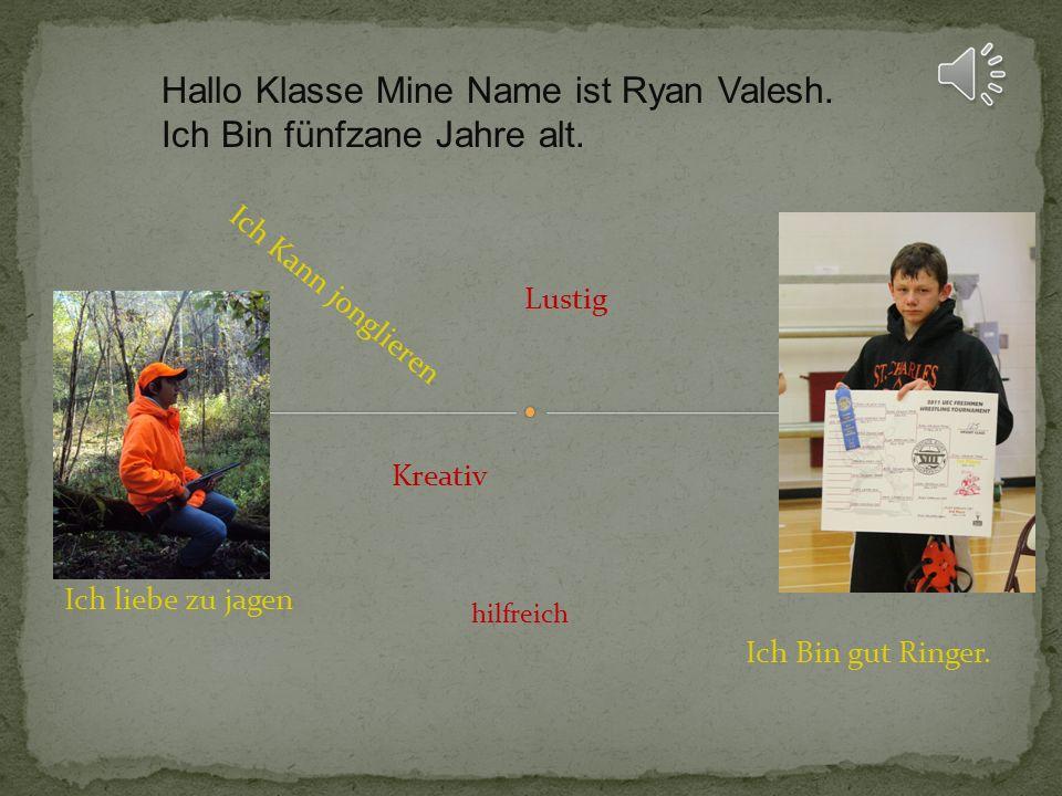 Hallo Klasse Mine Name ist Ryan Valesh. Ich Bin fünfzane Jahre alt.