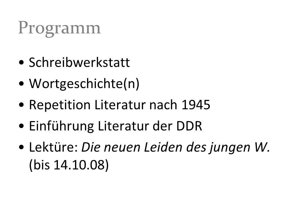 Programm Schreibwerkstatt Wortgeschichte(n)