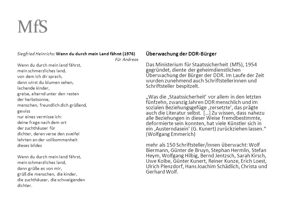MfS Siegfried Heinrichs: Wenn du durch mein Land fährst (1976)