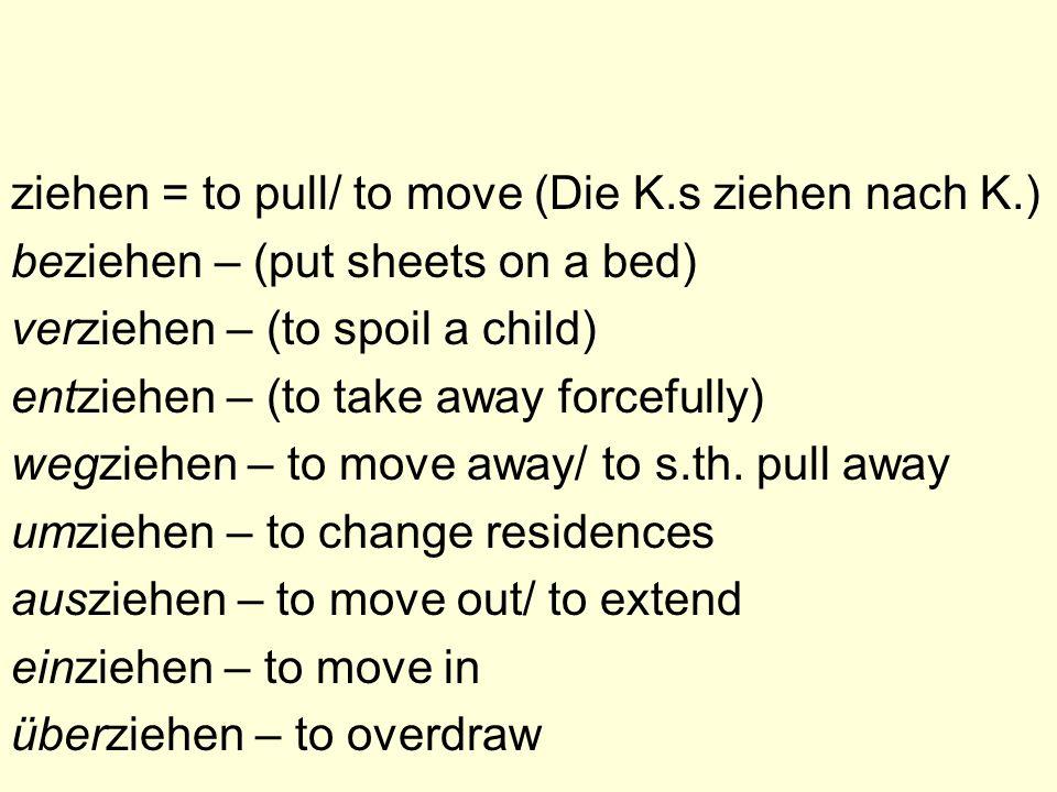 ziehen = to pull/ to move (Die K.s ziehen nach K.)