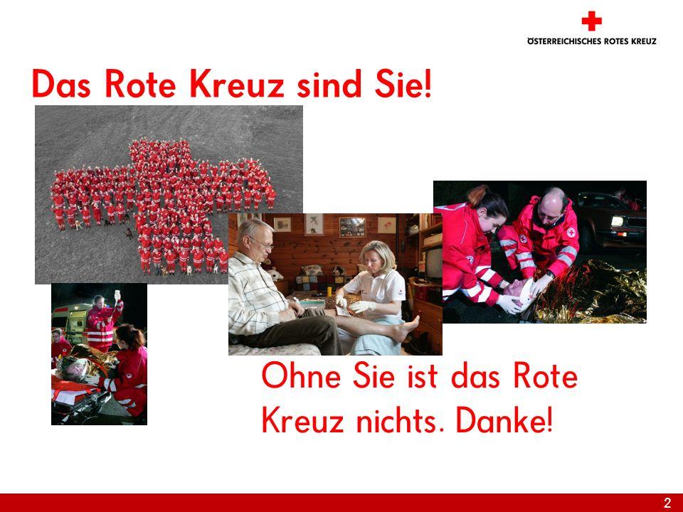 Das Rote Kreuz sind Sie! Ohne Sie ist das Rote Kreuz nichts. Danke!