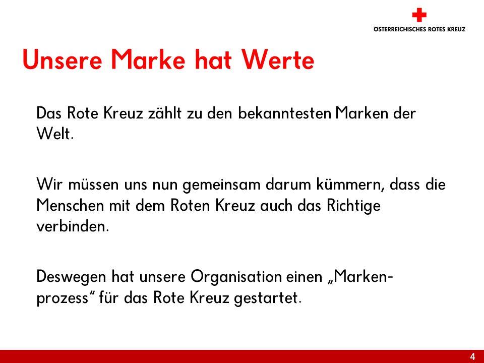 Unsere Marke hat Werte Das Rote Kreuz zählt zu den bekanntesten Marken der Welt.