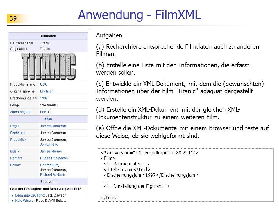 Anwendung - FilmXML Aufgaben