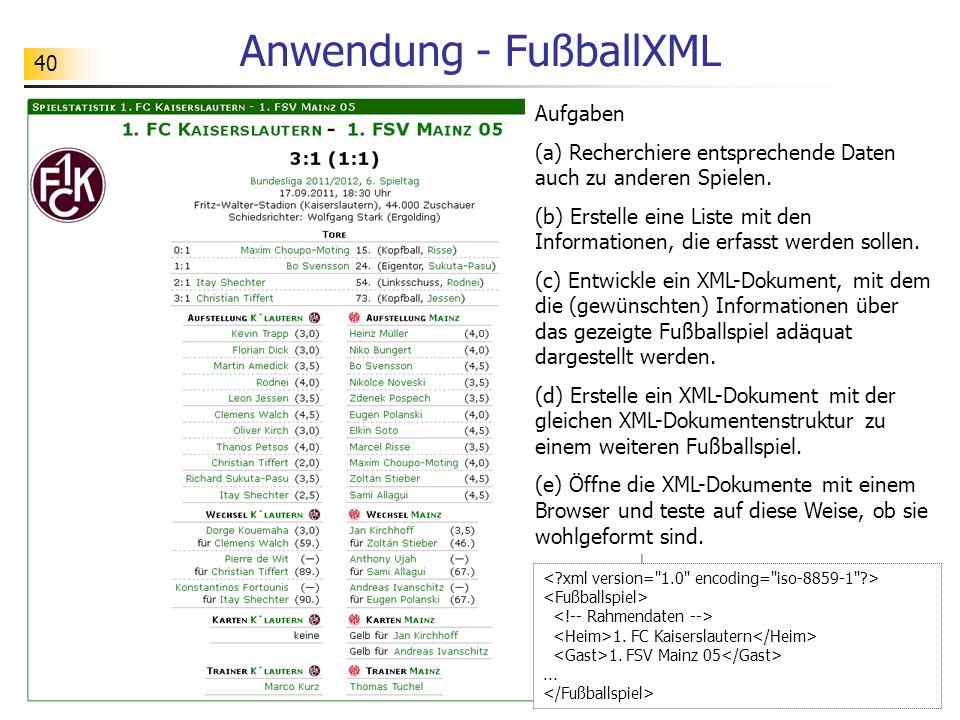 Anwendung - FußballXML