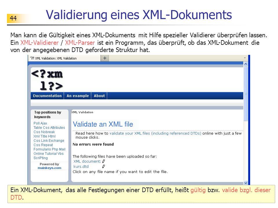 Validierung eines XML-Dokuments