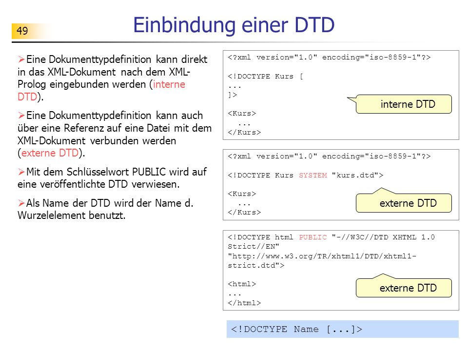 Einbindung einer DTD Eine Dokumenttypdefinition kann direkt in das XML-Dokument nach dem XML-Prolog eingebunden werden (interne DTD).