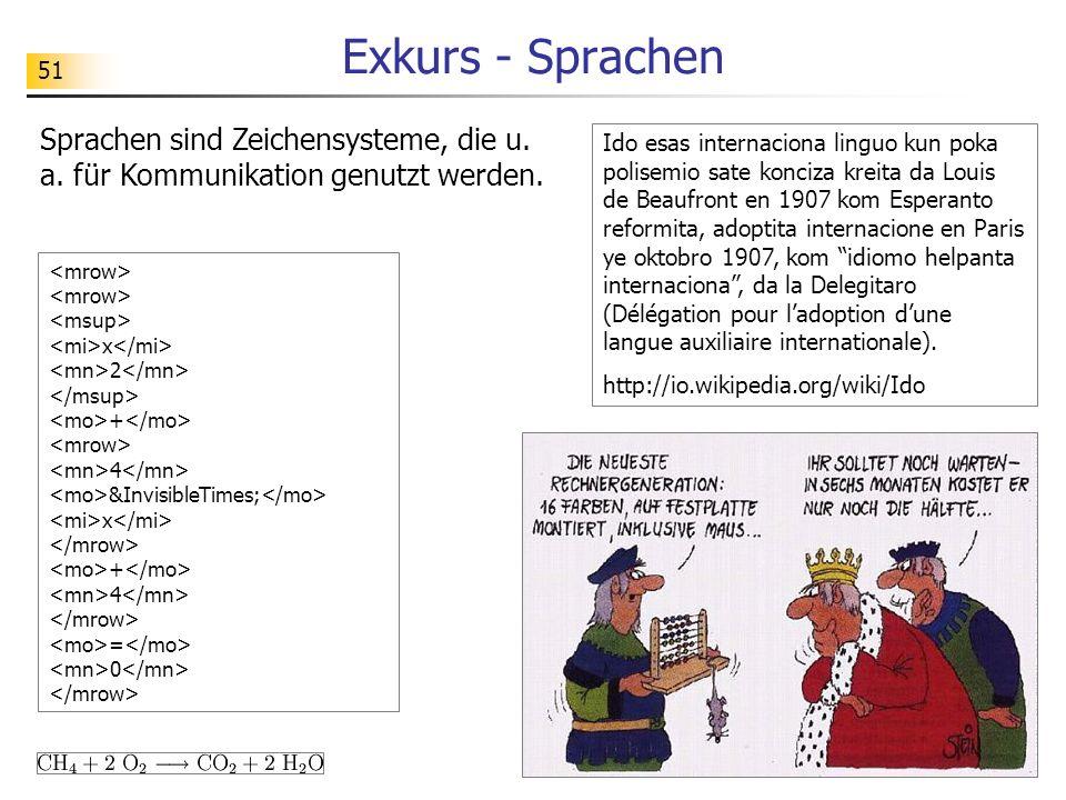 Exkurs - Sprachen Sprachen sind Zeichensysteme, die u. a. für Kommunikation genutzt werden.