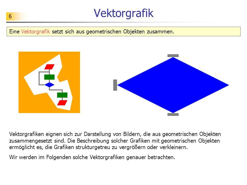 Vektorgrafik Eine Vektorgrafik setzt sich aus geometrischen Objekten zusammen.