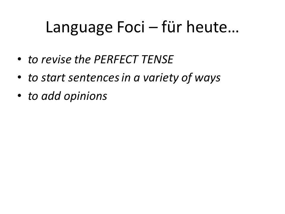 Language Foci – für heute…