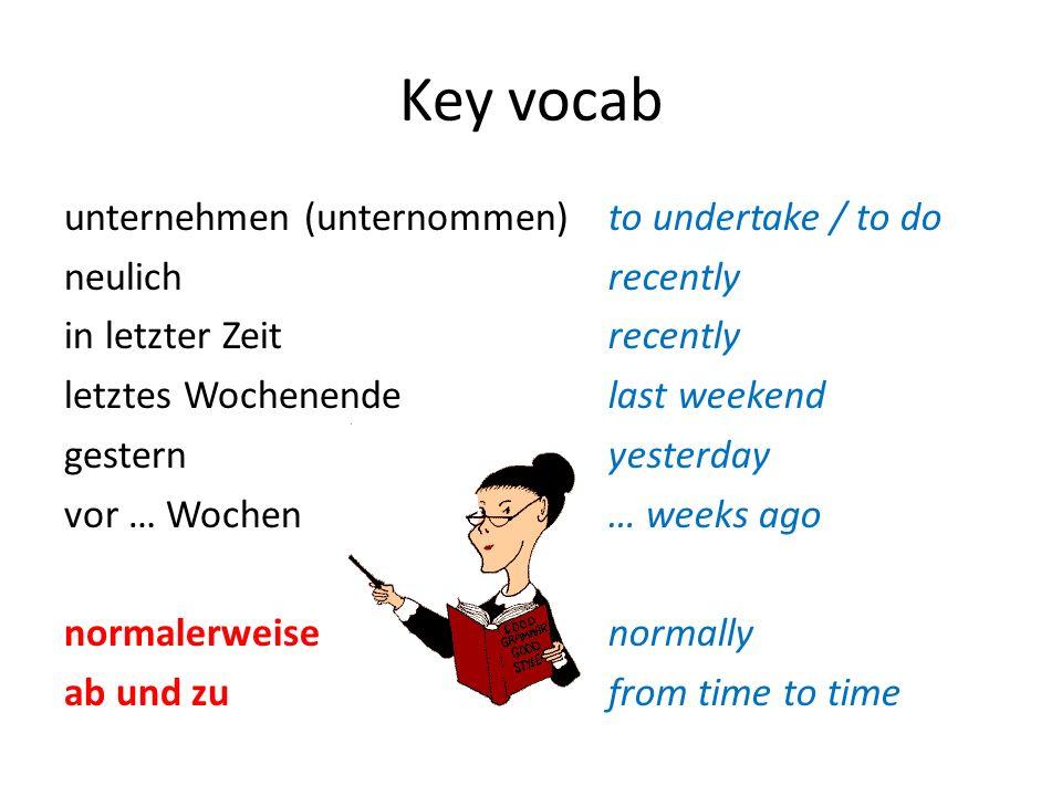 Key vocab unternehmen (unternommen) neulich in letzter Zeit letztes Wochenende gestern vor … Wochen normalerweise ab und zu