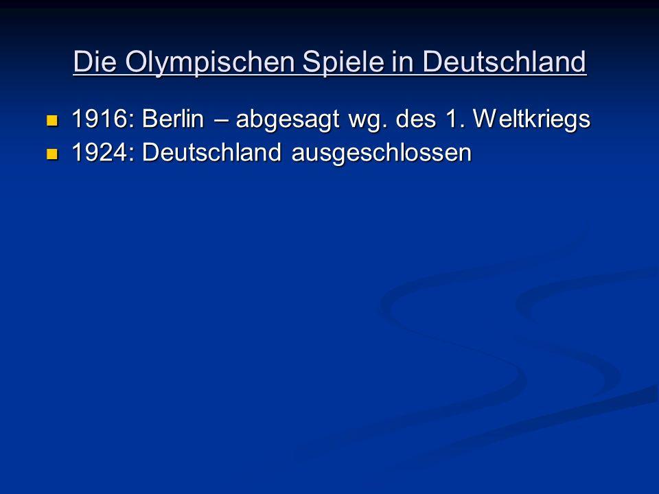 Die Olympischen Spiele in Deutschland