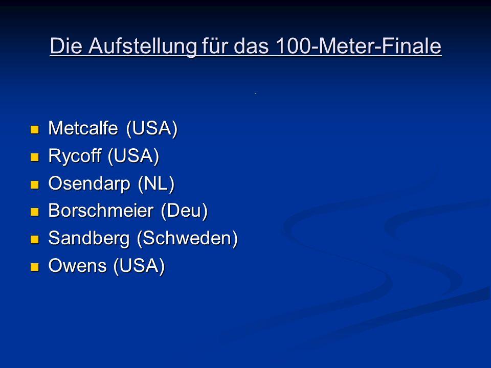 Die Aufstellung für das 100-Meter-Finale