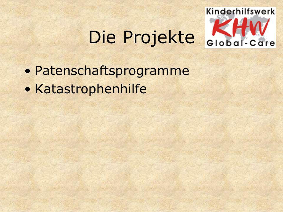 Die Projekte Patenschaftsprogramme Katastrophenhilfe