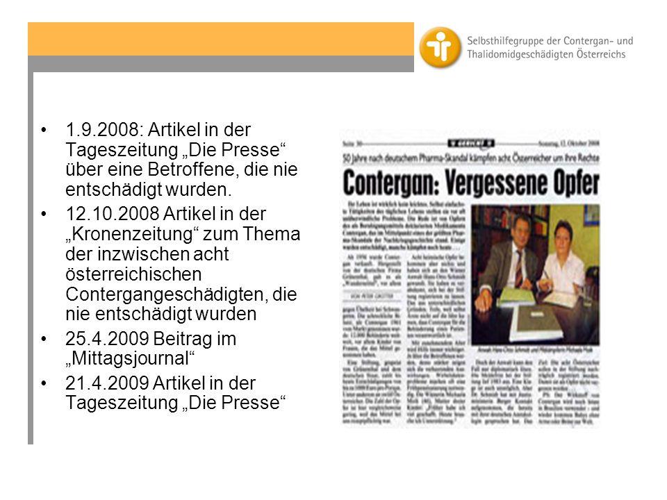"""1.9.2008: Artikel in der Tageszeitung """"Die Presse über eine Betroffene, die nie entschädigt wurden."""