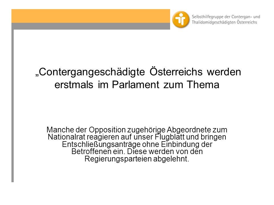 """""""Contergangeschädigte Österreichs werden erstmals im Parlament zum Thema"""
