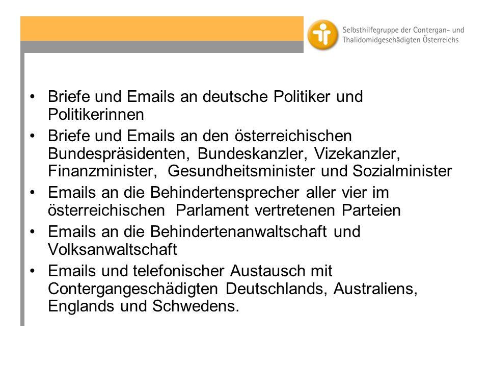 Briefe und Emails an deutsche Politiker und Politikerinnen