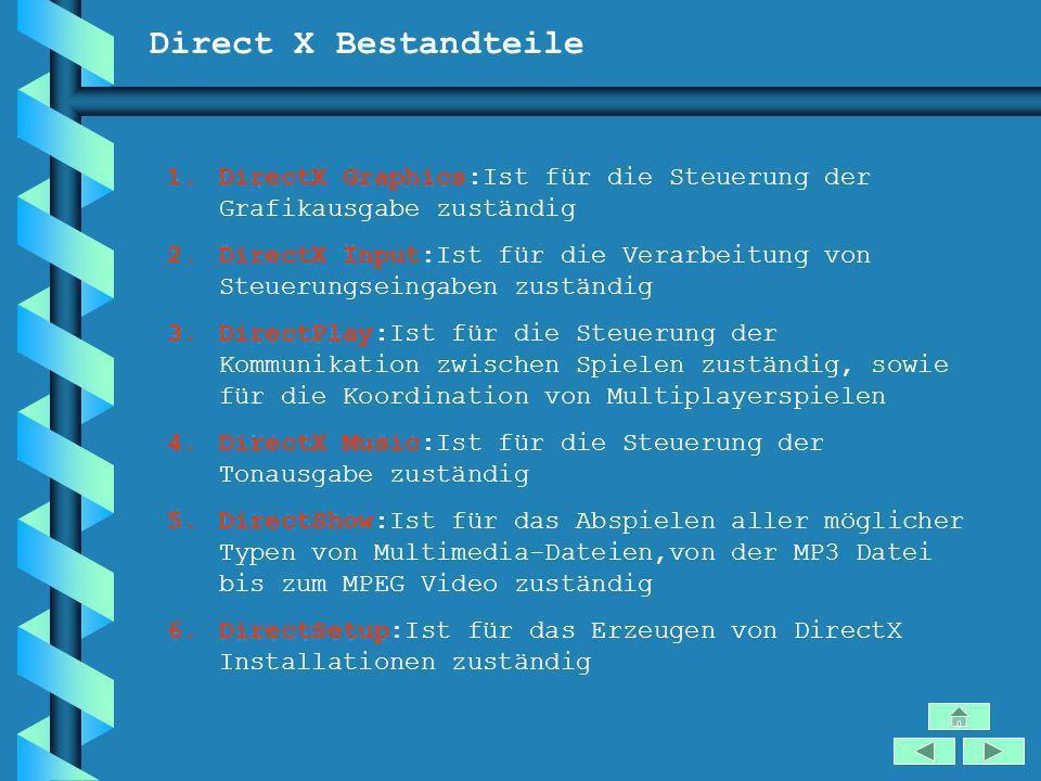 Direct X Bestandteile DirectX Graphics:Ist für die Steuerung der Grafikausgabe zuständig.