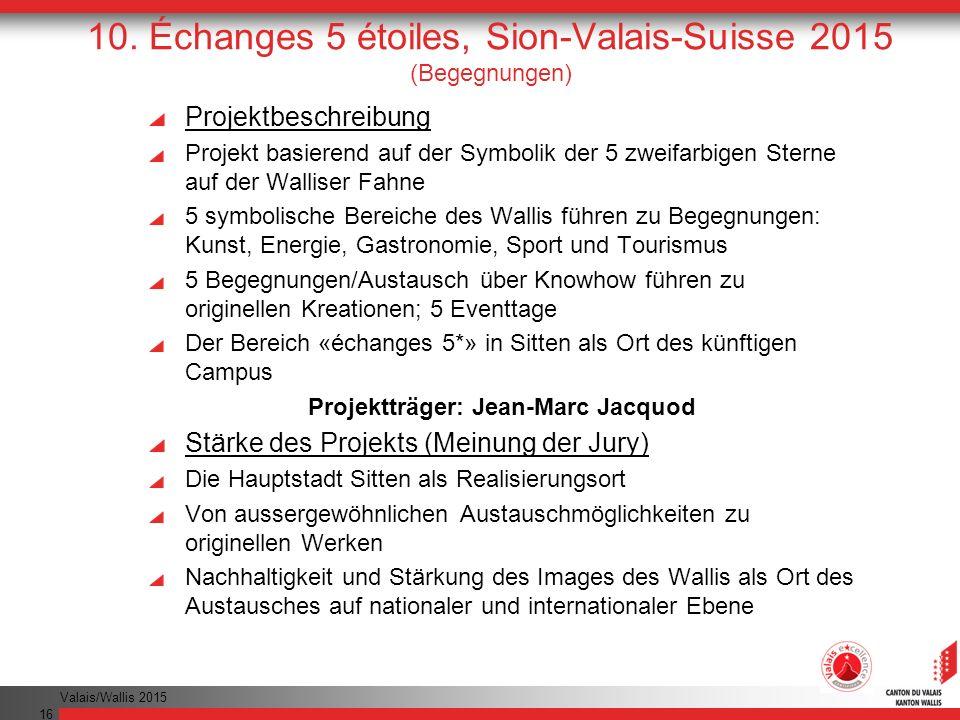 10. Échanges 5 étoiles, Sion-Valais-Suisse 2015 (Begegnungen)