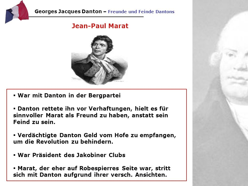 Jean-Paul Marat War mit Danton in der Bergpartei