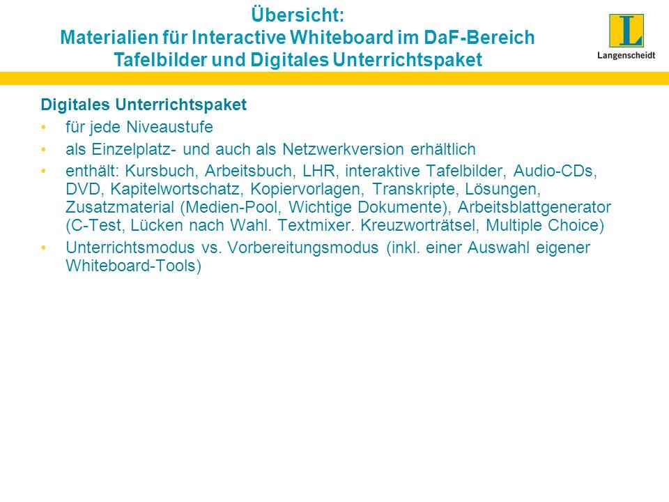 Übersicht: Materialien für Interactive Whiteboard im DaF-Bereich