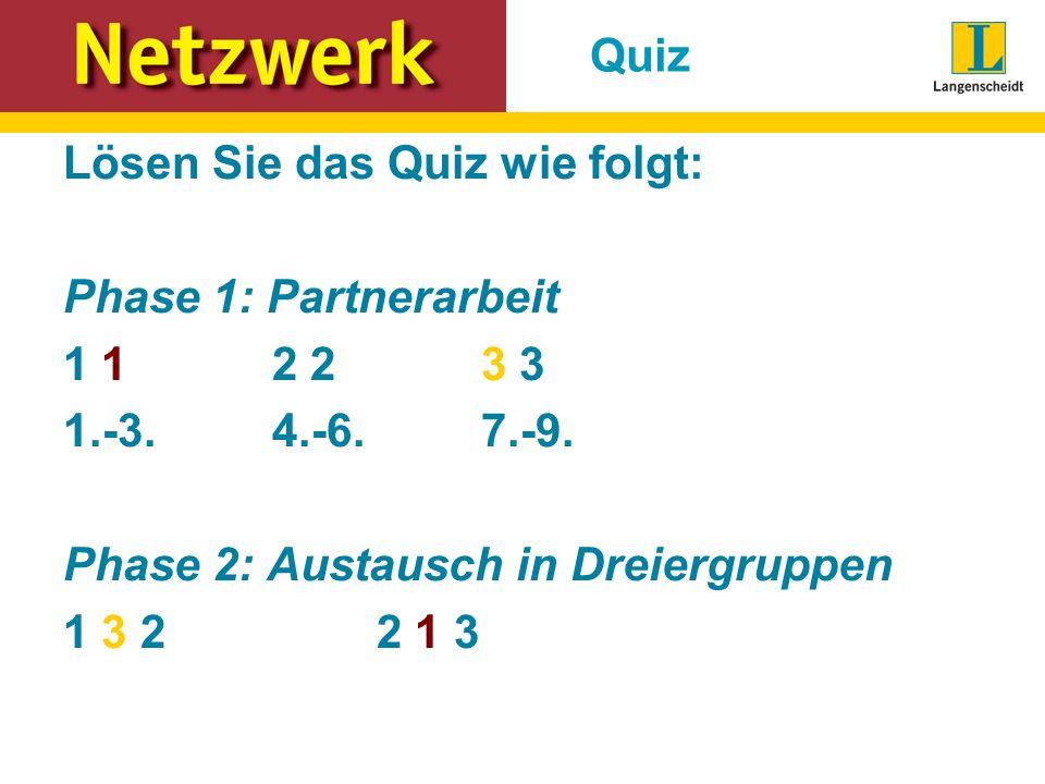 Quiz Lösen Sie das Quiz wie folgt: Phase 1: Partnerarbeit. 1 1 2 2 3 3. 1.-3. 4.-6. 7.-9.