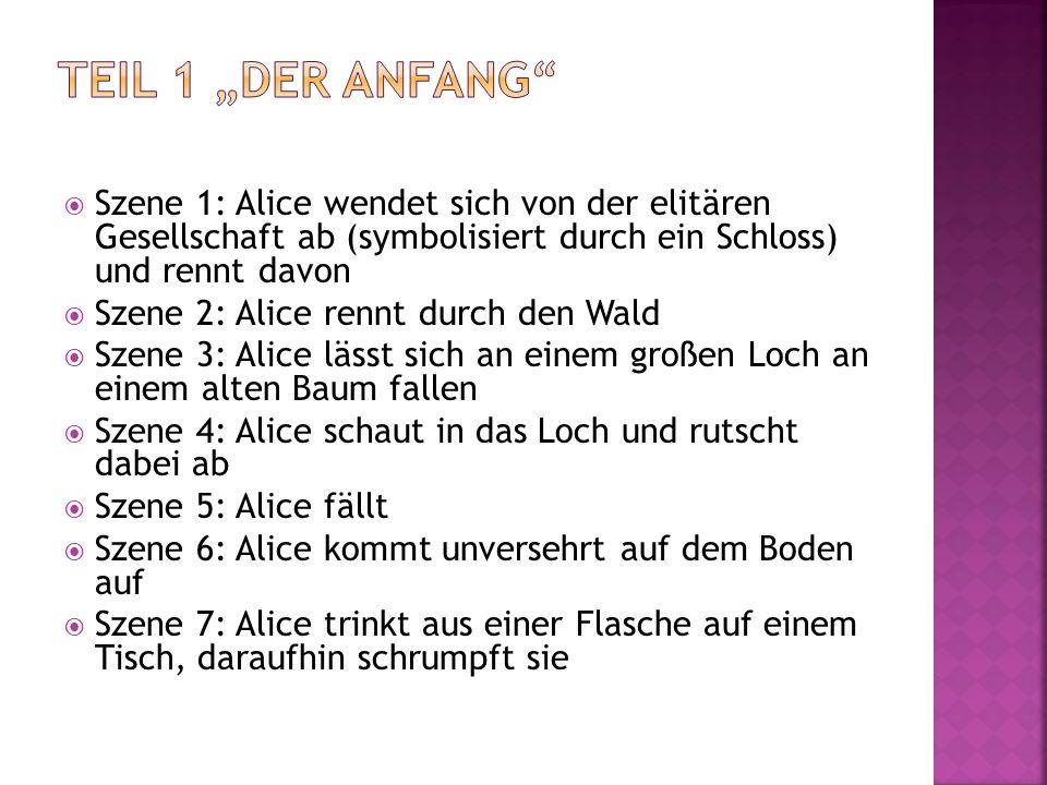 """Teil 1 """"Der Anfang Szene 1: Alice wendet sich von der elitären Gesellschaft ab (symbolisiert durch ein Schloss) und rennt davon."""