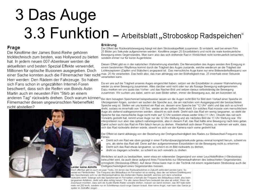 """3 Das Auge 3.3 Funktion – Arbeitsblatt """"Stroboskop Radspeichen"""