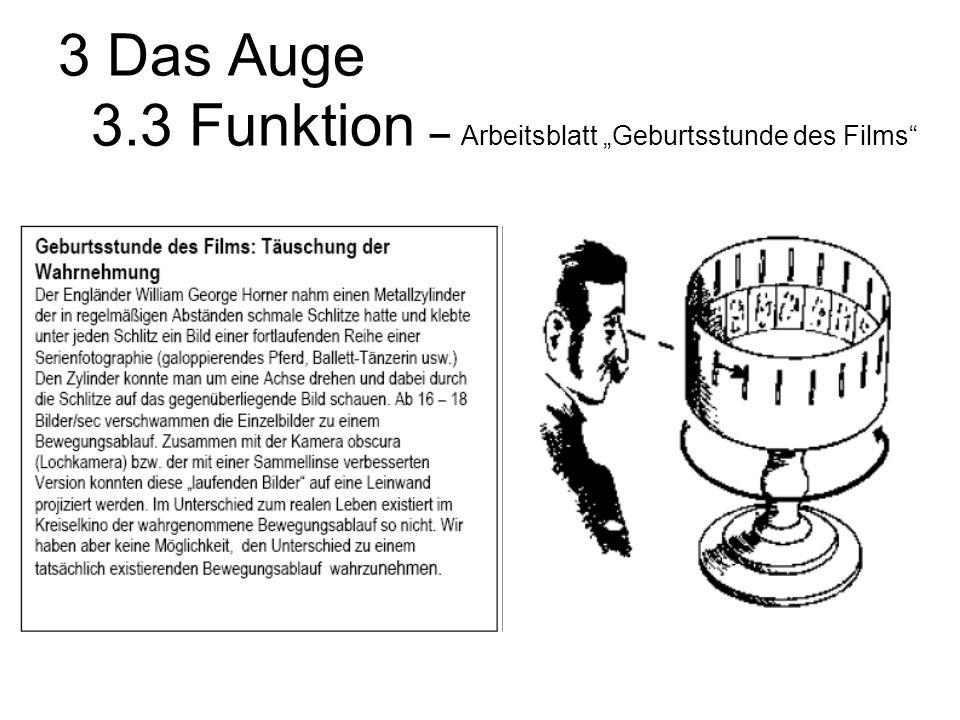 """3 Das Auge 3.3 Funktion – Arbeitsblatt """"Geburtsstunde des Films"""