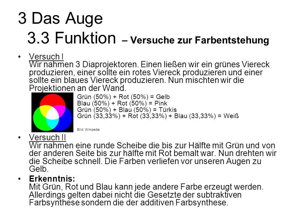 3 Das Auge 3.3 Funktion – Versuche zur Farbentstehung