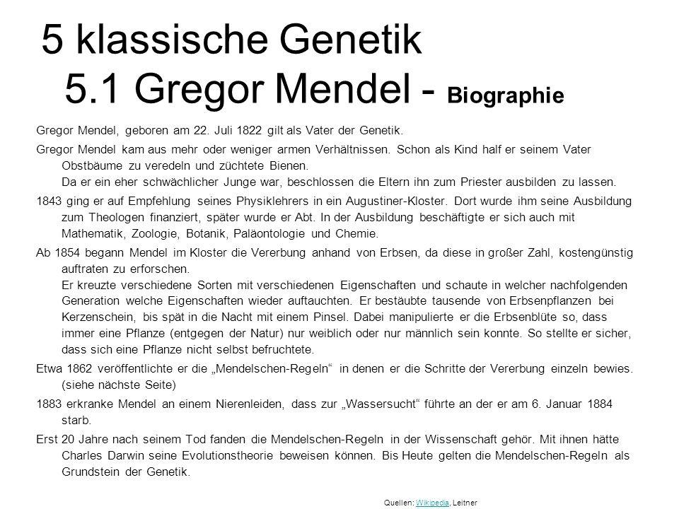 5 klassische Genetik 5.1 Gregor Mendel - Biographie