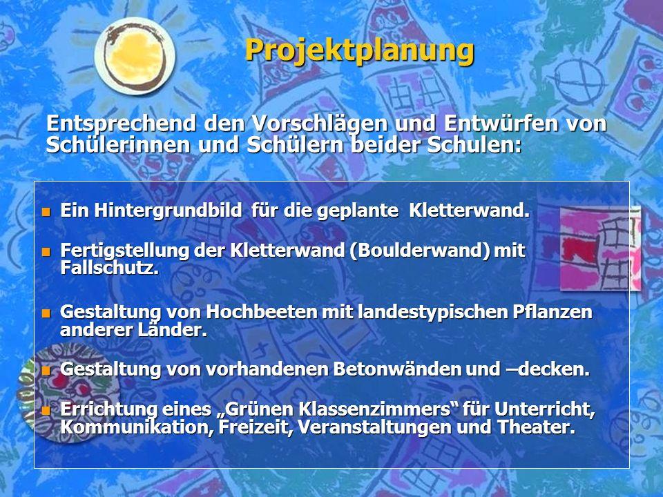 Projektplanung Entsprechend den Vorschlägen und Entwürfen von Schülerinnen und Schülern beider Schulen: