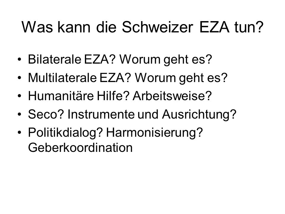 Was kann die Schweizer EZA tun