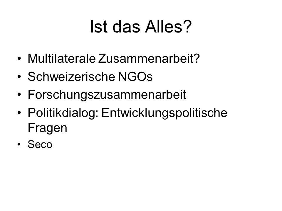 Ist das Alles Multilaterale Zusammenarbeit Schweizerische NGOs