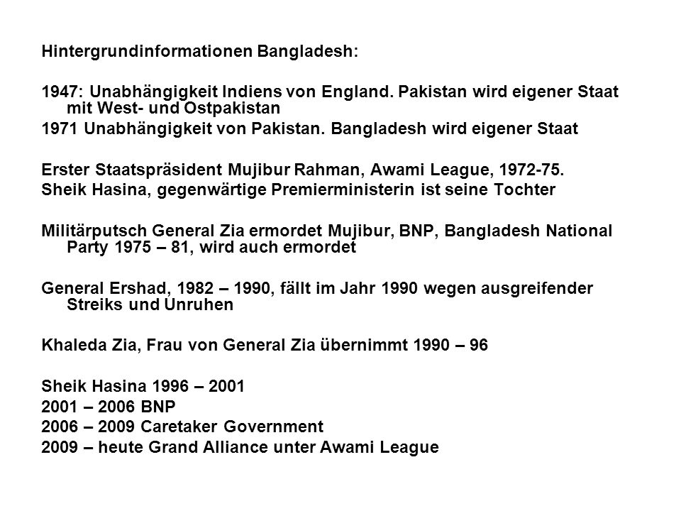 Hintergrundinformationen Bangladesh: