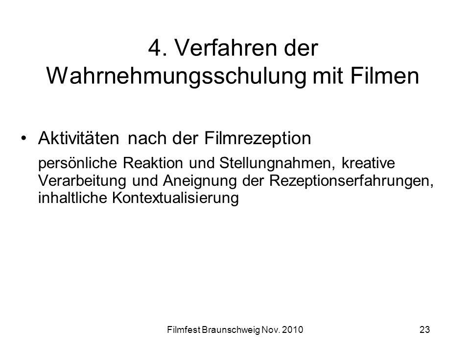 4. Verfahren der Wahrnehmungsschulung mit Filmen