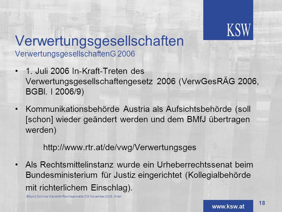 Verwertungsgesellschaften VerwertungsgesellschaftenG 2006